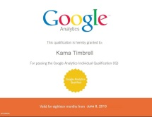Image, Kama Timbrell Google Analytics Certification
